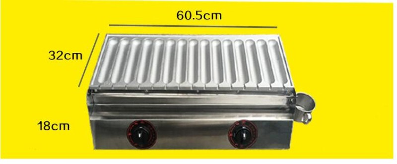 2017 new design Gas heating French hot dot making machine, hot dog shape waffle maker,15 pcs ome time sausage machine french workplace design