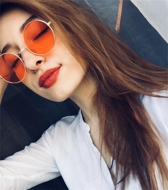 f31ef18b6 New Women Men Round Sunglasses Steampunk Shades MultiColor Gradient Mirror  Lens Goggles Designer Vintage Sun Glasses