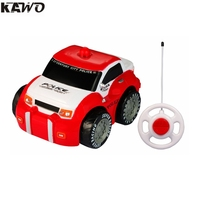 KAWO Cartoon RC Mini Race Car Radio Control Toy For Toddlers And Kids Police Car Red