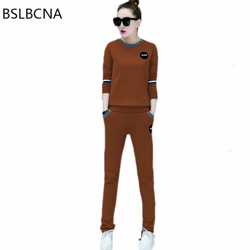 Casual Suit Clothes 2019 Two Piece Set Women New Korean Clothing Round Collar Loose Tops Female Long Solid Color Pants A246