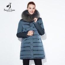 SnowClassic 2017 jaqueta de inverno mulheres Elegantes Longo Casaco grosso Casacos Quentes Capuz Cintura Ajustável sólido fino de Algodão Acolchoado