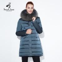 SnowClassic 2018 winter jacket Fashionable women thick Long Coat Warm Jackets Hood Adjustable Waist solid slim Cotton Padded