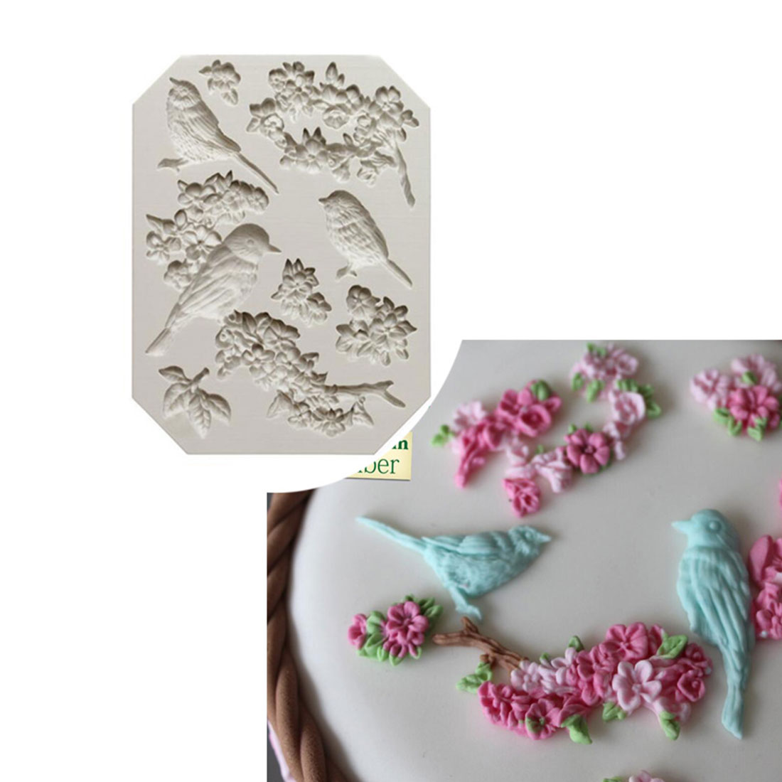 Top Sale Sugarcraft Bird And Flower Silicone Mold Fondant Mold Cake Decorating Tools Chocolate Gumpaste Mold