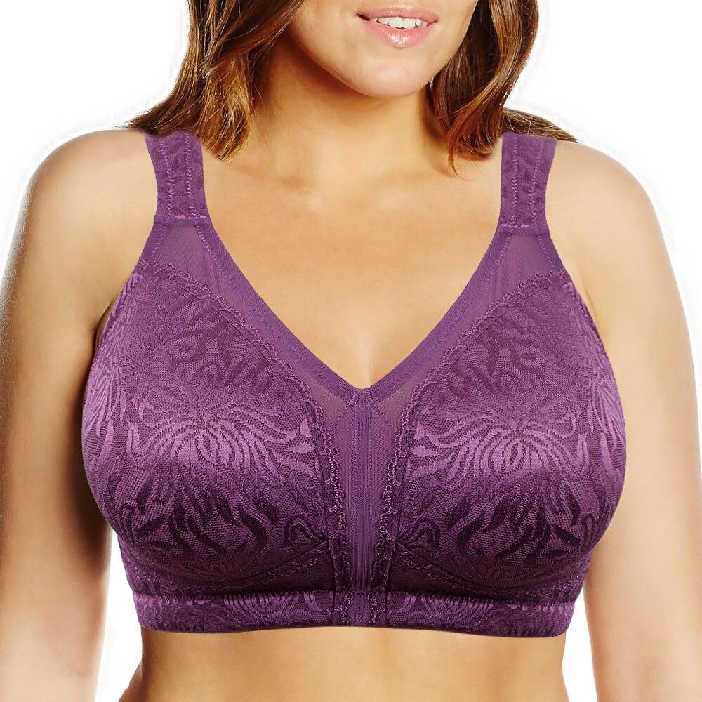 VOGUESECRET Women Plus Size Bra 44C 44D 44E 44F 44G 46C 46D 46E 46F 46G 48C 48D 48E 48F 48G Big Breast Lace Wire Free Sexy Bras