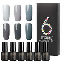 (6PCS/LOT) ROSALIND 7ML Pure Colors Gel Varnish Set of Nails UV Soak off Long Lasting Nail Gel Polish for Nail Art DIY Manicure