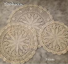 HOT Handmade round lace cotton table place mat crochet coffee placemat pad wedding dish coaster cup mug tea dining doily kitchen