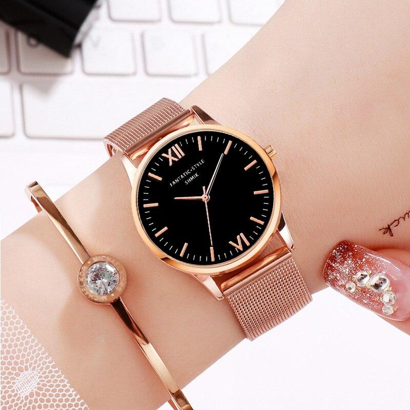 Simple Women FANTATIC STYLE Watches SHMIK Brand Luxury Stainless Steel Mesh Quartz Wristwatches Montre Femme Clock