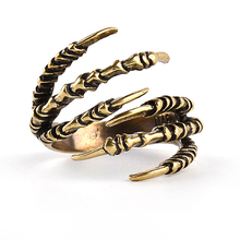 New Fashion Viking Ring Brass Finger Knuckle Punk Rock Men Women Biker Ring Vintage Gothic Jewelry Bronze Color Dragon Claw Ring