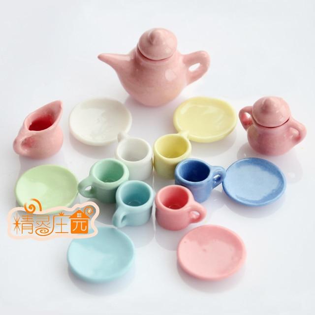 1/12 Dollhouse Tableware Porcelain Miniature Tea Cup Sets Mini Teapot Coffee Plate Play Kitchen & 1/12 Dollhouse Tableware Porcelain Miniature Tea Cup Sets Mini ...