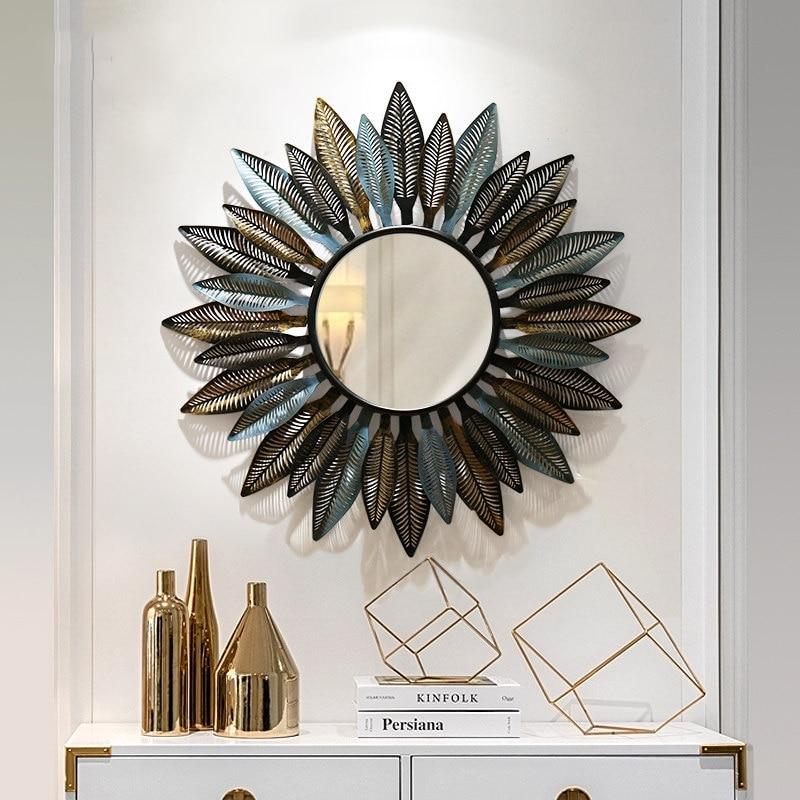 Européen en fer forgé soleil forme décoratif miroir tenture murale décoration artisanat maison salon 3D Sticker Mural ornements muraux