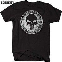 Sonikey Punisher T Shirt Black 100 Cotton Print Skull Hip Hop Streetwear Casual Short Sleeve T