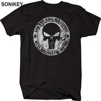 Sonikey Punisher T Shirt Black 100 Cotton Print Skull Hip Hop Streetwear Casual Short Sleeve T