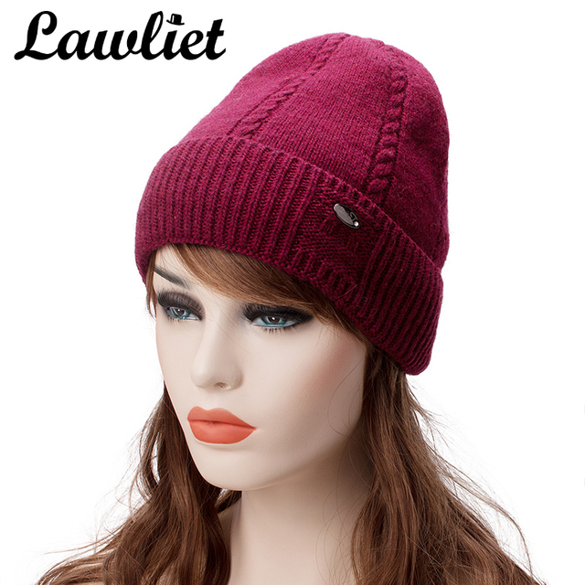 26a2be17d57c8 Lawliet Warm Winter Hats Women Fleece Lined Wool Knitted Hats Unisex  Skullies Bonnet Solid Cable Female Baggy Beanies Ski Cap
