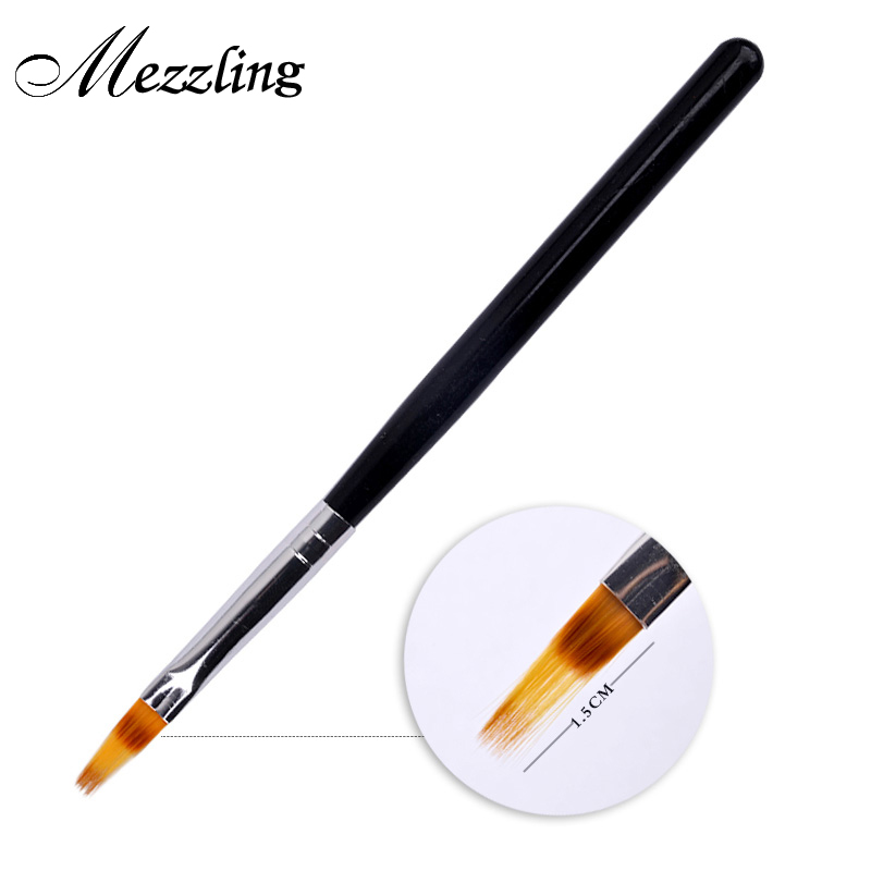 1 PC Hitam Menangani Nylon Rambut Ombre Brush Nail Art Brush UV Gel Alat Kuku Profesional