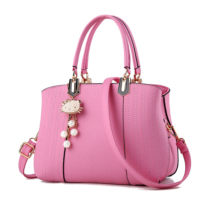 1a13a8a979255 2017 Girls Bag Lovely cat Pendant Women Messenger Bag Ladies Beading Shoulder  Handbag PU Leather Hand Bag Lovely Crossbody Tote-in Shoulder Bags from ...