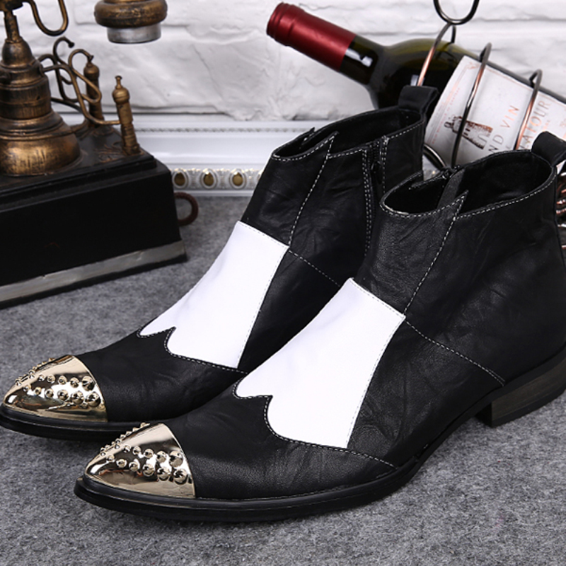 Christia Bella British Designer Men Shoes Pointed Toe Formal Dress Shoes Genuine Leather Ankle Boots Plus Size Motorcycle Boots