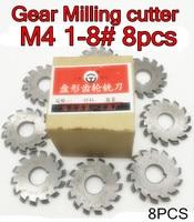 M4 Modulus PA20 graden NO.1-NO.8 8 stks/set HSS Versnelling frees Gear snijgereedschap Gratis verzending