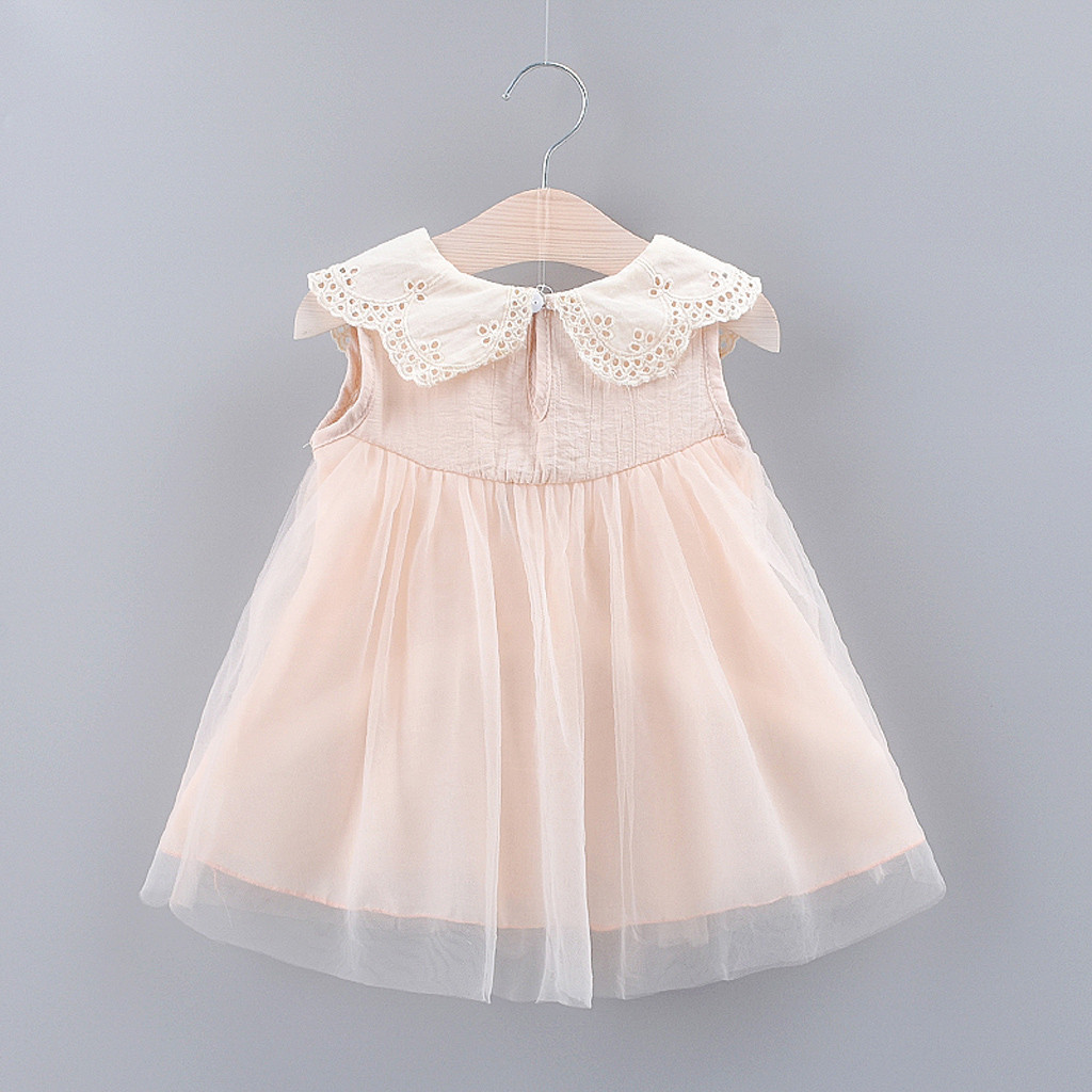 Cute baby girl dress Solid Bow Lace Tulle Party Princess Dress Clothing Pink White Dress for Toddler Kid robe bebe HOOLER