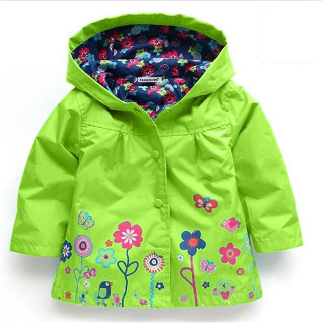 2-6 yrs Baby Girls Toddler hooded 2018 spring Autumn Girls Jackets casual Kids Outwear flower pattern Waterproof Children Coat 3
