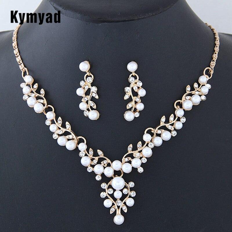 Kymyad Wedding Jewelry Sets Imitation Pearl Jewelry Set Simple