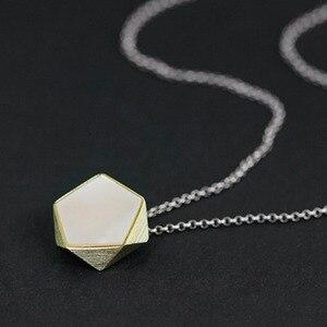 Image 2 - Colgante de joyería fina con diseño de ángulos geométricos para mujer, Lotus Fun, estilo norte europeo, sin collar, Plata de Ley 925 auténtica