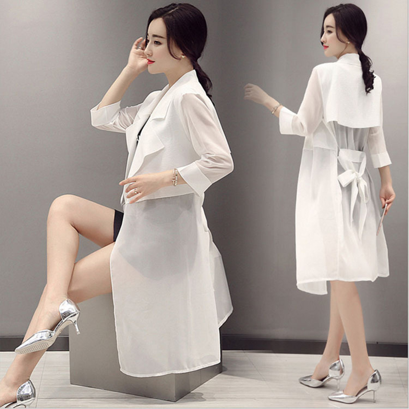 Casacos Femininos koreai kövér nők vékony, vékony, tömör, körbefutó gallér, háromnegyed ujjú sifon hosszú kardigánok árok kabátja