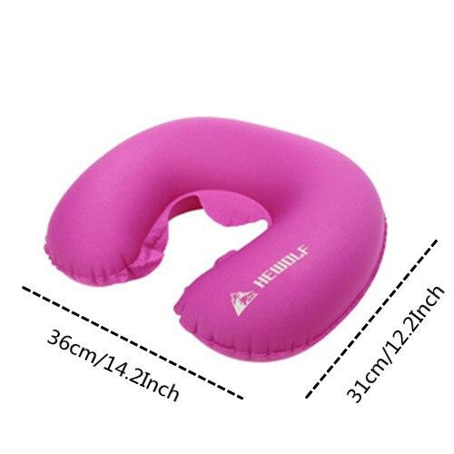 VILEAD портативный u-образный подушка для кемпинга 36*31 см уличный для пешего туризма надувная подушка самолет пляжный сон Сверхлегкий мягкий коврик - Цвет: red pillow
