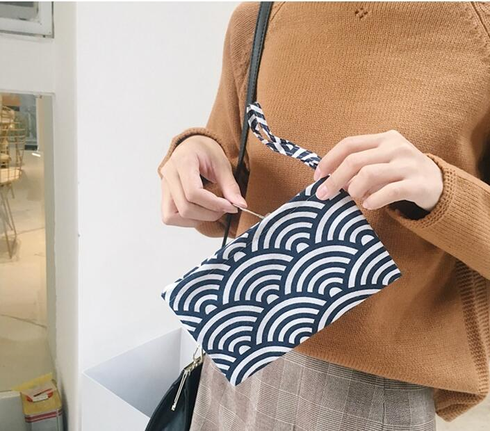 Retro Simple Stlye Unisex Square Canvas Coin Purse Cloth Zipper Pouch Men Womens Mini Coin Wallet Girls Small Makeup Bag