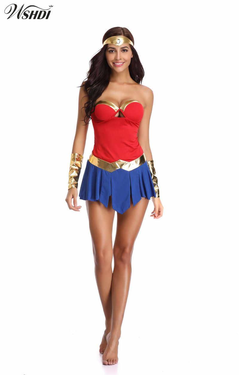 487b32d3ebbd Adult Wonder Woman Costume Sexy Superhero Super Girl Halloween Cosplay  Fancy Dress