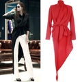 In the spring of 2017 new women's fashion The irregular swing collar fold waist solid long blouse