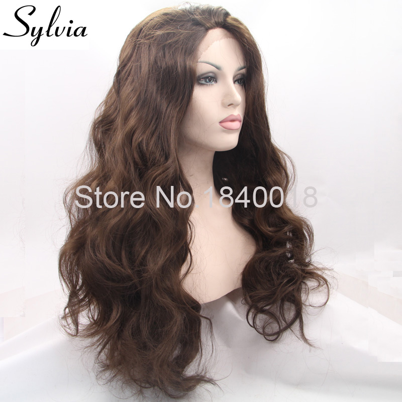 sylvia 6# color body wave synthetic lace front wigs coffee brown wavy glueless heat resistant fiber hair for woman