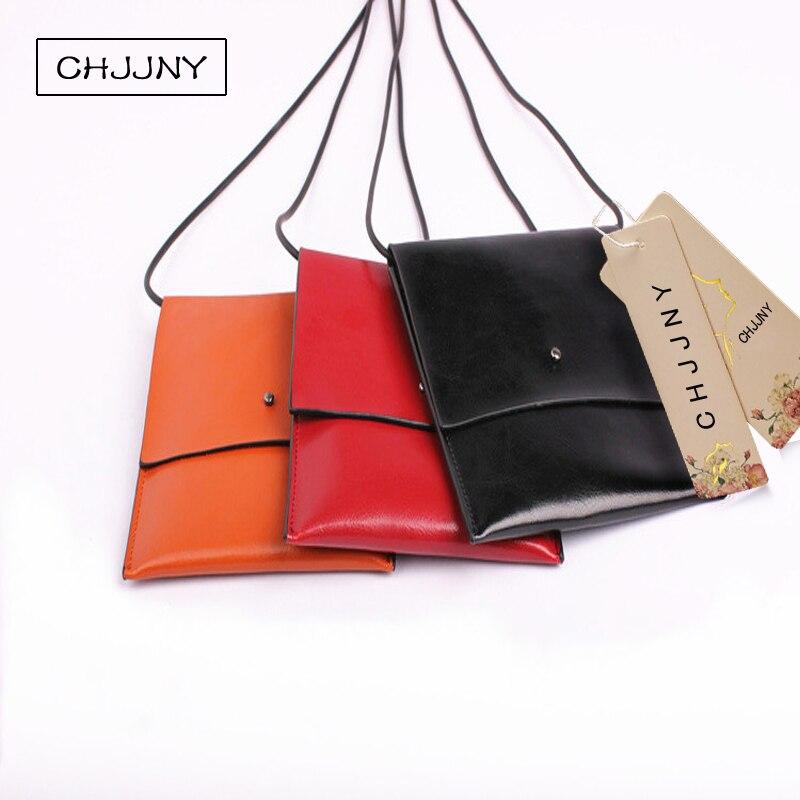 6b8c5ea6850 CHJJNY corea del estilo de moda de cuero genuino personalizada mujeres de  la vendimia simple del monedero del bolso del teléfono móvil