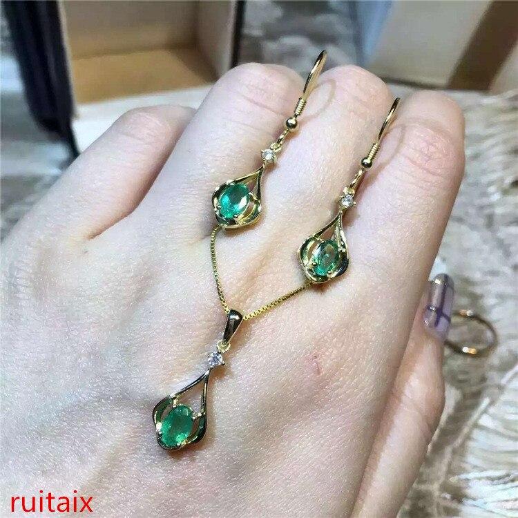 KJJEAXCMY boutique bijoux 925 pur argent naturel émeraude collier incrustation bijoux femelle plaqué or pierre gemme goutte