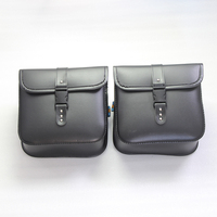 2PCS Black PU Leather Motorcycle Roll Barrel Saddle Bag Rear Left And Right Position For Harley