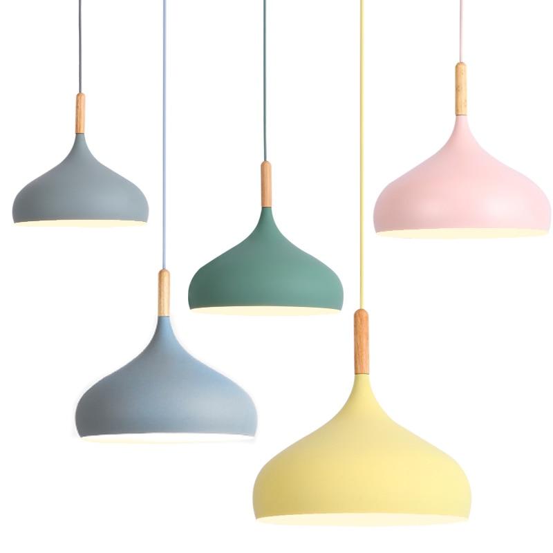 Modern Wood Pendant Lights Restaurant Kitchen Colorful Macarons Aluminum Suspension luminaire Hanging Lightings