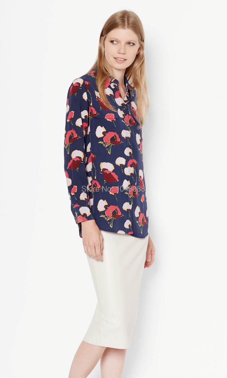 784a5b691c7 EQ 100% silk poppy flower print ladies long sleeve blouses Equipment women  shirt sprint autumn