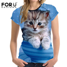 3D Galaxy Cat Prints Women Summer T Shirt
