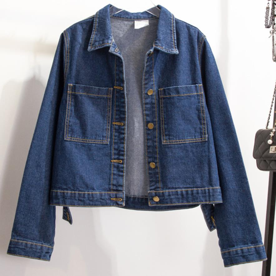 f73feba0ea137 2019Women Cropped Jean Jacket Light Blue Short Denim Jackets Jaqueta Casual  washed Jeans Coat-in Basic Jackets from Women s Clothing on Aliexpress.com  ...