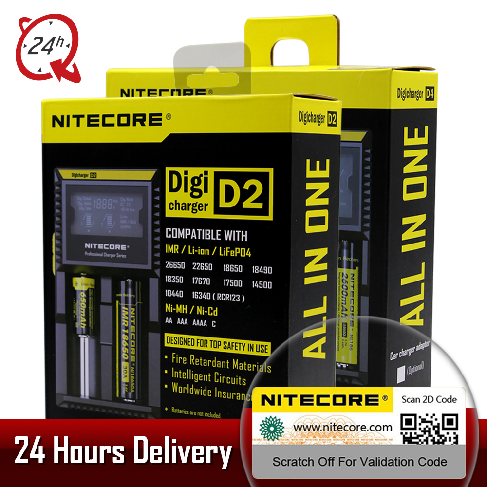 Brand Nitecore D2 D4 Digicharger LCD Intelligent Circuitry li-ion For 26650 18650 18350 16340 14500 10440 Car Battery Charger ycd 1688 eu plug for 3 7v 18650 18350 14500 16340 17670 18490 li ion battery chrger 100 240v