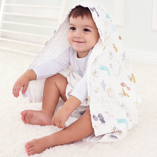 Manta Muselina bebé 6 Capas Recién Nacido Swaddle Muselina de Algodón Transpirable Completo Bebé Muselina Manta de Bebé Toalla de Baño Del Bebé