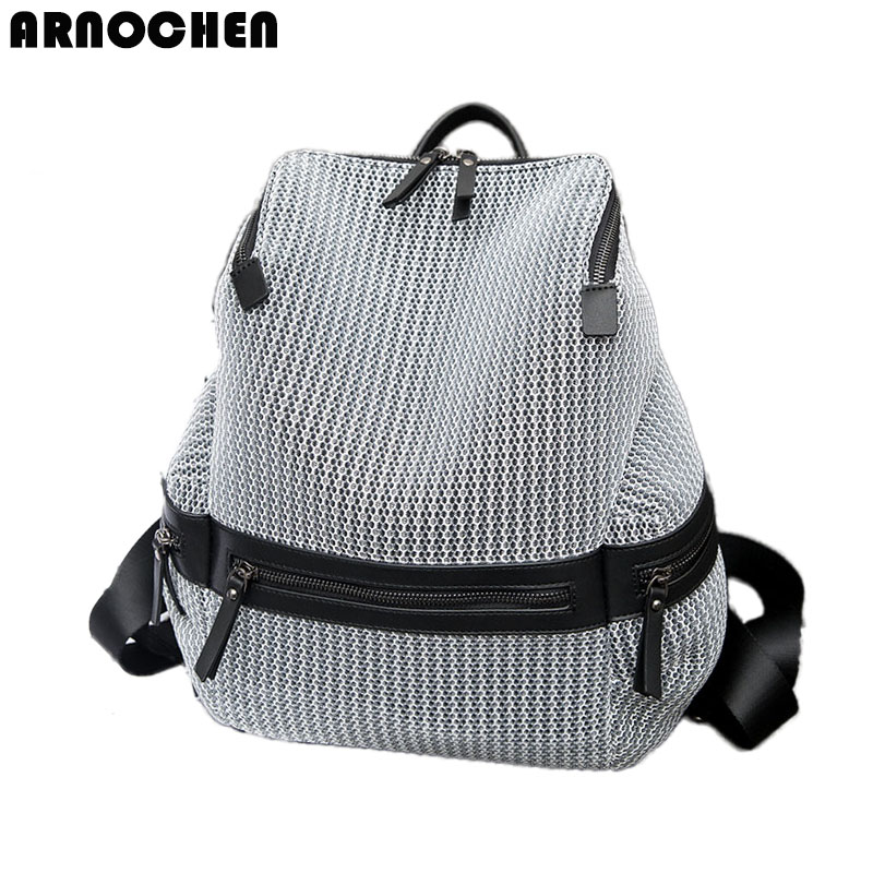 ladies shoulder backpack of the grid nylon Oxford cloth lightweight fashion travel bag large capacity backpacks
