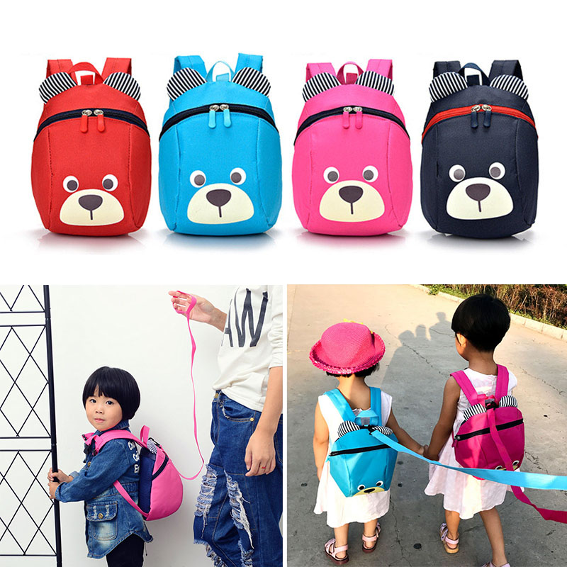 Fashion Children Backpack Anti lost Canvas Cartoon Animal Bear Pattern Kindergarten Kids Baby School Bags Backpack