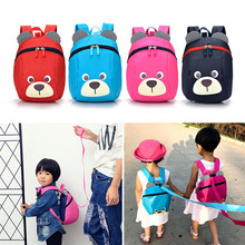 Fashion Children Backpack Anti-lost Canvas Cartoon Animal Bear Pattern Kindergarten Kids Baby School Bags Backpack for Children