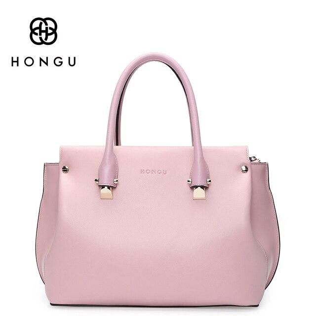 HONGU Luxury Real Natural leather Bags Women handbags Totes Briefcases Solid Business Versatile Bag Famous Designer Big Capacity