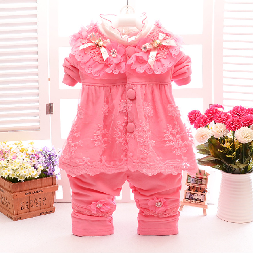 Cute Baby Girl Flower Coat Lace Collar T Shirt Pearl Trousers 3pcs Suit Fashion Newborn Long Sleeve Clothes Sets Birthday Gifts 30 new styles festival gifts top trousers lifestyle suit casual clothes trousers for barbie doll 1 6 bbi00636