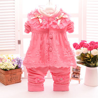Cute Baby Girl Flower Coat Lace Collar T Shirt Pearl Trousers 3pcs Suit Fashion Newborn Long