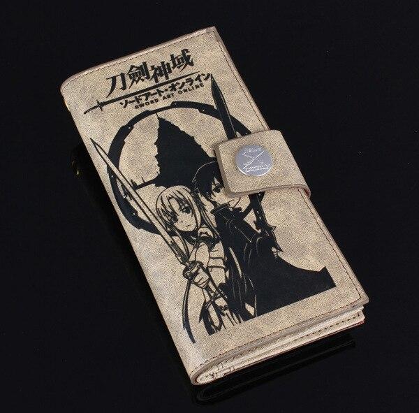New Women Men Zipper & Hasp Rectangular Long Purse Fresh And Cartoon Sword Art Online Wallet Purse Card Bag