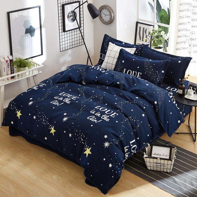 Fashion Simple Bedding Set 4 Piece Twill Sanded Four-piece Plant Cashmere Cotton Sheets Quilt Cover