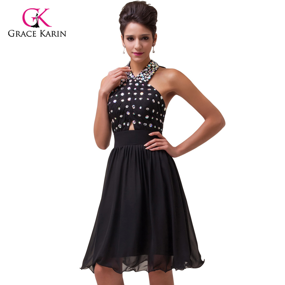 Crystal Cocktail Dress 2018 Grace Karin Halter Beaded Black Party ...