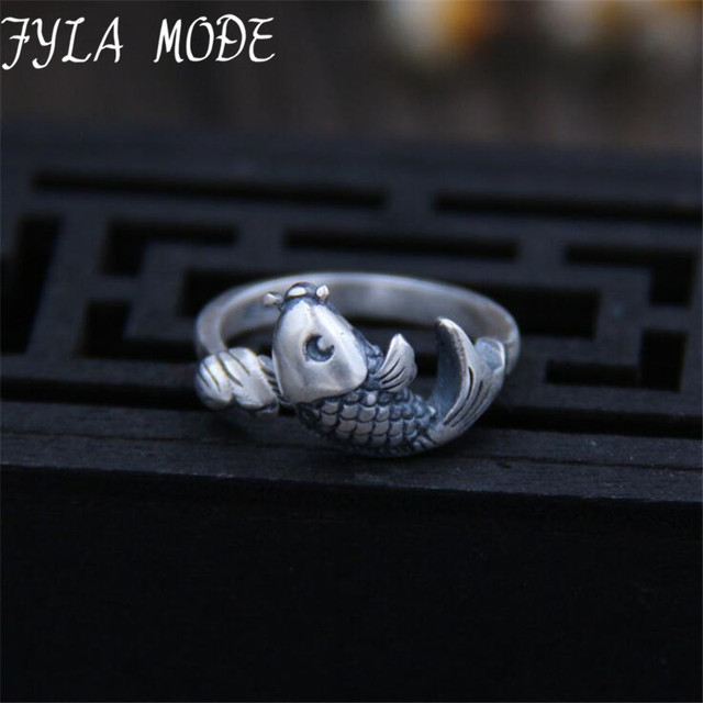 Women's Jewelry Open Rings Hot Sale New Retro Style High Quality 925 Sterling Silver Carp Fish Lotus Ring Fashion Silver Jewelry